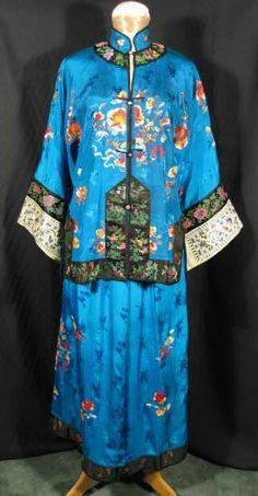 1920s Embroidered Chinese Pajamas Jacket Pants at Robin Clayton Vintage