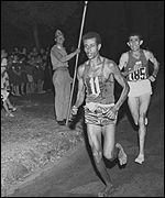 Abebe Bikila - Rome Olympics 1960 - Rhadi Ben Abdesselem  (Morocco) 2nd