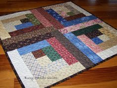 Thimbleberries Log Cabin Quilted Table Runner or Wall Hanging