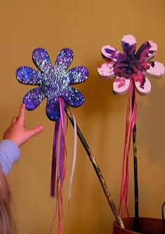 Flower fairy magic wands - cute project/favor for a fairy party