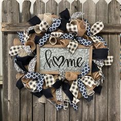 Excited to share this item from my #etsy shop: Navy Burlap Wreath - Everyday Farmhouse Wreath - Gray Deco Mesh Wreath - Home Sign Burlap Wreath - Front Door Decor #homedecor #blue #entryway #welcomewreath #graywreath