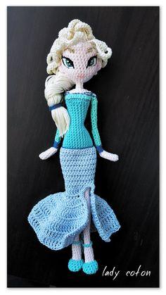 La reine des neiges ( frozen ) entièrement fait a la main crochet et patte FIMO