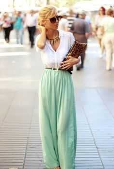 How to wear a white shirt. Nice way to wear white shirt for spring, with pastels trend. Mint maxi skirt+ white shirt