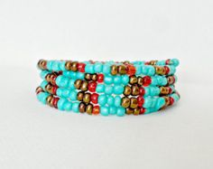 TURQUOISE, Bright colors,  Seed Beads , MEMORY WIRE Bracelet, Gold beads