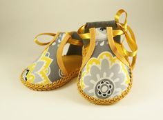 Miss-Match Fun yellow and grey Amy Butler Baby girl shoe. $15.99, via Etsy.