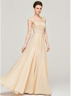 A-Line/Princess V-neck Floor-Length Chiffon Lace Mother of the Bride Dress (008062566) - JJsHouse