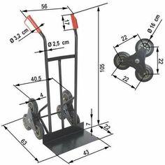 Handcart, Ladder trolley, triple wheels each side, for stairs. Garage Tools, Diy Garage, Garage Workshop, Metal Projects, Welding Projects, Metal Crafts, Cool Tools, Diy Tools, Metal Bending