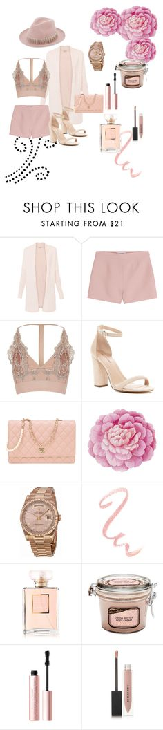 """""""Pink Monochrome """" by xoxoemilyalexis ❤ liked on Polyvore featuring Valentino, River Island, Call it SPRING, Chanel, Ballard Designs, Rolex, Too Faced Cosmetics, Burberry and Super Duper"""