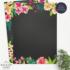 Chalkboard Tropical Bridal Shower Invitation Island Flowers