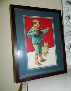 Antique Victorian German Framed Die Cut Boy w Violin White Cats Kittens Sailor