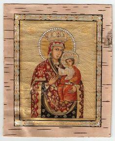 икона на бересте Черниговской Пресвятой Богородицы