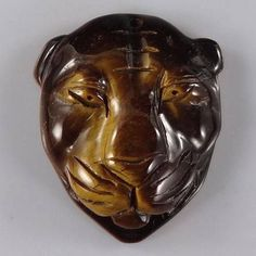 BG17713#  Natural Hand Carved Tiger Head Tiger's Eye Stone pendant Bead Gemstone #Handmade #Pendant