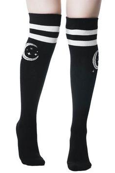Moonbeam Long Socks   KILLSTAR - US Store High Socks Outfits, Cool Outfits, Long Socks Outfit, Thigh High Socks Outfit, Thigh Socks, Killstar Clothing, Pretty Bras, Moda Casual, Lolita
