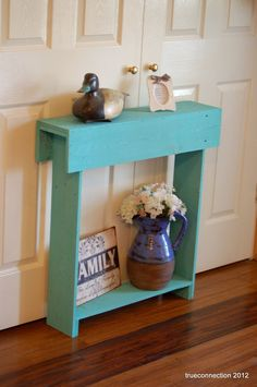 Console Table. Small Console Table TEAL Skinny Wall Table Skinny Entry Table BLUE Cottage Decor. 30X7X30. $150.00, via Etsy.