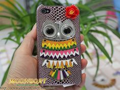 Cell Phone Hard Case Cover With Silvery Owl Flower for by moonboat, $8.99