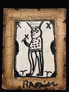 RA-Miller-FOLK-ART-BLOW-OSKAR-Signed-Painting-Southern-Outsider-Art-Oil-on-Board