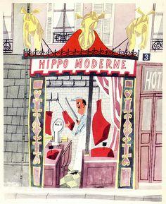 La fama Chevaline. | ilustración del libro «This is Paris», por Miroslav Sasek.