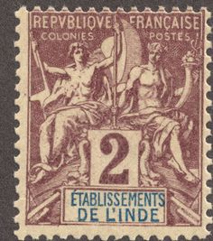 "1892-1907 French India 2c brown/buff ""Navigation and Commerce"""