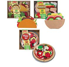 Melissa & Doug Felt Play Food - Taco & Burrito Set Add some Mexican flavor to your play kitchen!