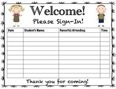 Teacher Conference Sign In Sheet Freebie! Great sign-in sheet to use at parent/teacher conferences! Great sign-in sheet to use at parent/teacher conferences! Parent Teacher Conference Forms, Parent Teacher Meeting, Parent Teacher Communication, Meet The Teacher, Parent Night, Letter To Parents, Parents As Teachers, Student Led Conferences, School Forms