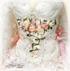 Pics For > Ribbon Embroidery Corset