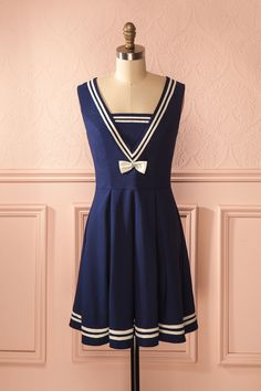 Maidie - Navy blue a-line sailor style dress Rockabilly, Nautical Dress, Diy Mode, Sailor Fashion, Short Dresses, Summer Dresses, Japanese Fashion, Retro, Spring Outfits