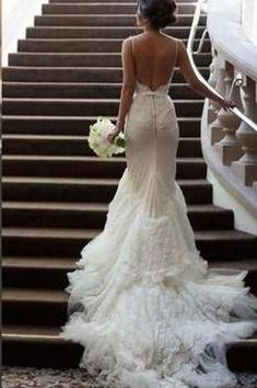 Backless White Lace Mermaid Spaghetti Straps Long Bridal Gowns Tulle Sexy Open Back Dress For Bridal