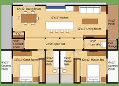 Houseplan #474-9 Modern house with an open floor plan. 2 bedrooms, two bath.