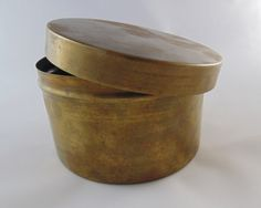 Vintage Brass Stash Box Trinket Box Small Old Brass Canister With Lid Small Vintage Brass Tin by LoftAtticEarth on Etsy