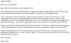 Mortgage Advisor Cover Letter Example