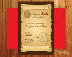 Pirate Party Invitation - Birthday Party - Printable Jpeg Or PDF File