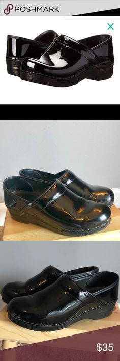 6b02f83e736db4 Dankso Black Patnent Learher Clogs Lifesaver when you are spending a day on  your feet -