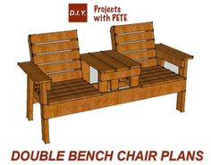 How to Build a Double Chair Bench with Table – Free Plans - Pallet Furniture Project Outdoor Furniture Plans, Pallet Furniture, Furniture Projects, Furniture Storage, Lawn Furniture, Furniture Dolly, The Plan, How To Plan, Diy Projects Plans