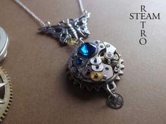 La farfalla orologio Collana Effect - Steampunk collana della farfalla - Steampunk Collana - Gioielli Steampunk - Steampunk by Steamretro : Collane di steamretro-italia