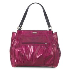 Rihanna (Prima) - Bright electric fuchsia faux leather is made even more glamorous by a juicy high-gloss finish! You can't help but feel powerful and chic with Rihanna by your side. Enjoy stud detailing, roomy end   pockets and a super-convenient front zippered pocket too!  https://janna.miche.com