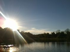 Sun setting on the pond