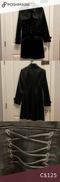 """M Marciano Satiny Trench Coat Size M Sexy trench coat! Nice shiny black material. Machine washable. Gently Preworn once. Buttons most of the way down, three front buckles and a clip at neck to wear if you'd like. Back of jacket has lower buttons and strappy waistband design. In excellent condition! Approx measurements 17"""" pit to pit 35"""" long Marciano Jackets & Coats Trench Coats Plus Fashion, Fashion Tips, Fashion Trends, Trench Coats, Jackets For Women, Bomber Jacket, Buttons, Nice, Sexy"""