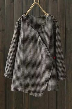 V-Neck Long Sleeve Trendy Plaid Pattern Linen Loose Casual Blouse Stylish Tops For Women, Trendy Fashion, Punk Fashion, Lolita Fashion, Fashion Boots, Style Fashion, Diy Clothes, Clothes For Women, Hijab Style