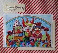 Three Clowns, Mushrooms and a Rainbow digital reproduction Print £9.00