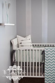 1304BABY BOY ROOM018 BABY BOY NURSERY SNEAK PEAK...Grey and Mint Arrow Themed Nursery