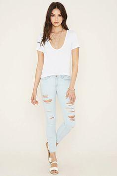 Distressed Skinny Ankle Jeans #f21denim