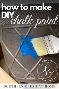 Skip store bought chalk paint, and learn how to make DIY chalk paint in any color with this fun tutorial!   #chalkpaint #diychalkpaint #chalkpaintfurniture Diy Chalk Paint Recipe, Make Chalk Paint, Chalk Paint Furniture, Decorating Ideas, Decor Ideas, Craft Ideas, Paint Your House, Favorite Paint Colors, Paint Line