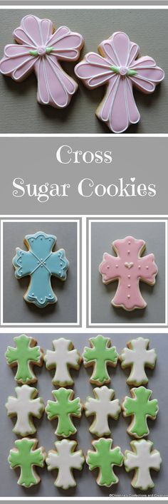 Small platter cross cookies - Hand decorated sugar cookies- Platter cookies Easter Cookies #affiliate