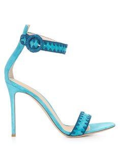 GIANVITO ROSSI Antigua Contrast-Stitch Suede Sandals. #gianvitorossi #shoes #sandals