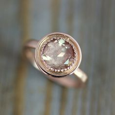 14k Rose Gold and Oregon Sunstone Halo Ring, Vintage Inspired Milgrain Detail, Made To Order