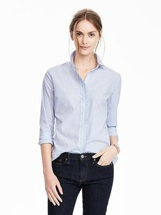 Riley-Fit Pleated Ruffle Shirt