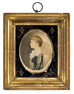 Attributed to William Birch (1755-1834), miniature portraits of father and son: william davis and william davis , jr., Unsigned, inscri