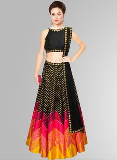 Khantil Black & Pink Raw Silk Navratri Special Printed Designer Lehenga…