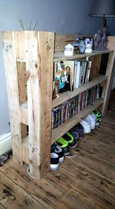 Recycled pallet multi-functional shelf unit