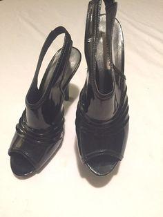 "Steve Madden P-Caciee Sexy Black Patent Leather Sling Back 4"" Heel Open Toe 8.5 #SteveMadden #Slingbacks #Party"